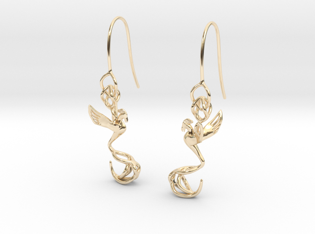 Phoenix earring in 14k Gold Plated Brass