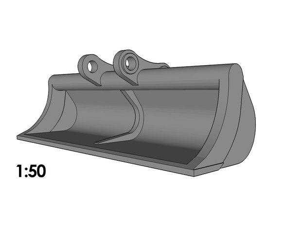1:50 - Ditch Cleaning Bucket for 20-25t excavators in Smooth Fine Detail Plastic