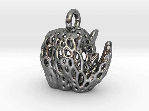 Tribal Rhino Voronoi Pendant in Polished Silver