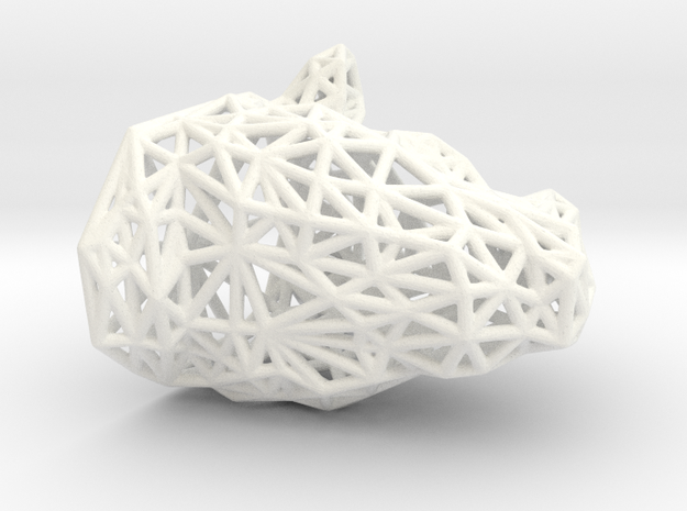 Rhino Wireframe in White Processed Versatile Plastic
