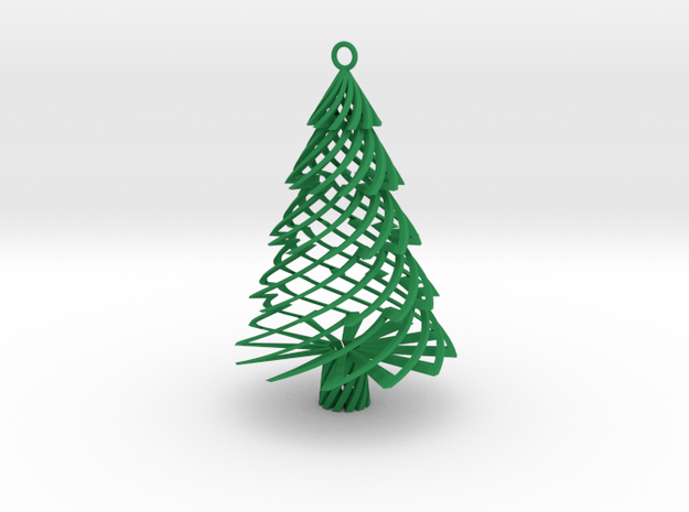 Twisted Tree Ornament in Green Processed Versatile Plastic