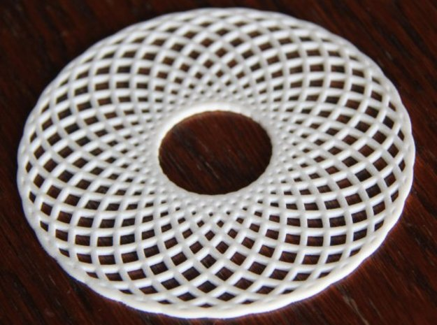 Spirograph Coaster 3 in White Strong & Flexible Polished