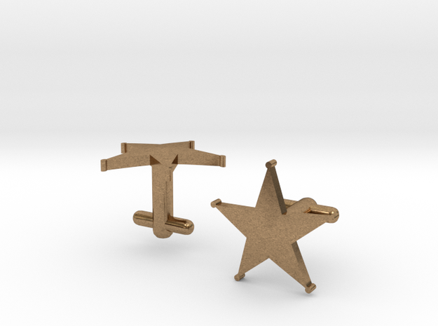 Sheriff's Star Cufflinks (1) Silver,Brass, or Gold in Natural Brass