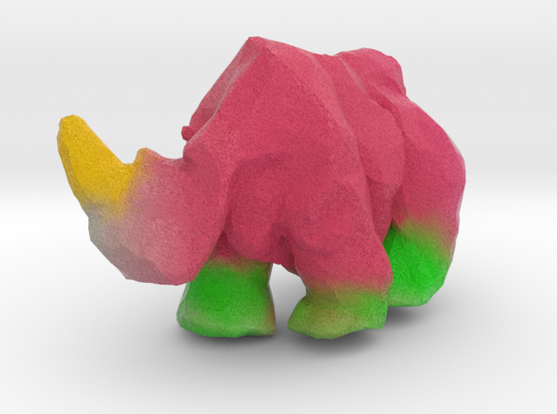 rhino low poly painted in Natural Full Color Sandstone