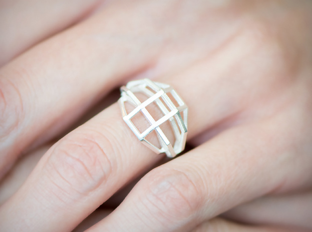 iXi Basic Geometry Ring Size 4.75 in Raw Silver