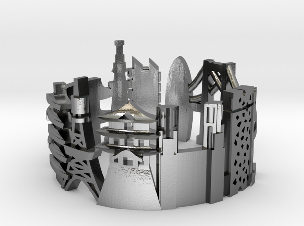 Tokyo - Skyline Cityscape Ring in Polished Silver: 8 / 56.75