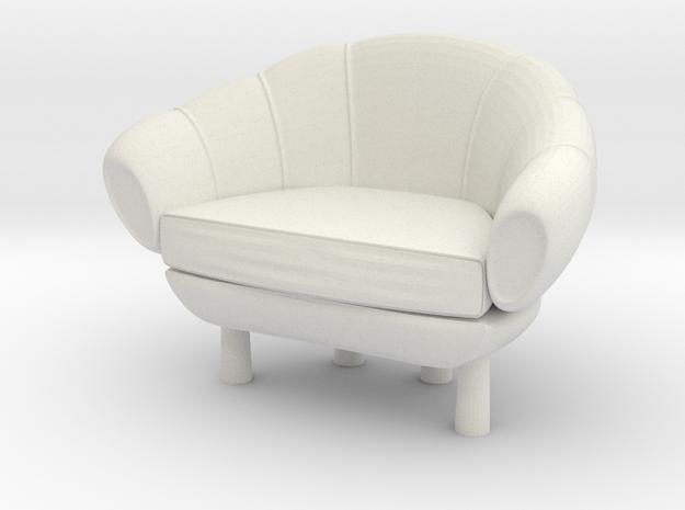 Miniature 1:12 Sofa in White Natural Versatile Plastic: 1:12