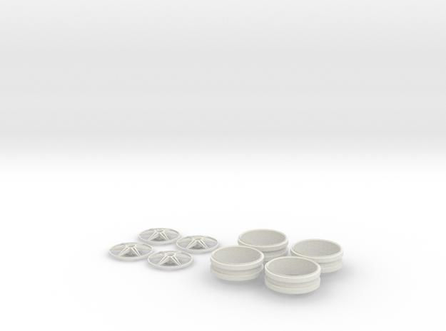 1/12 Centerlock 6 Star Wheels in White Strong & Flexible