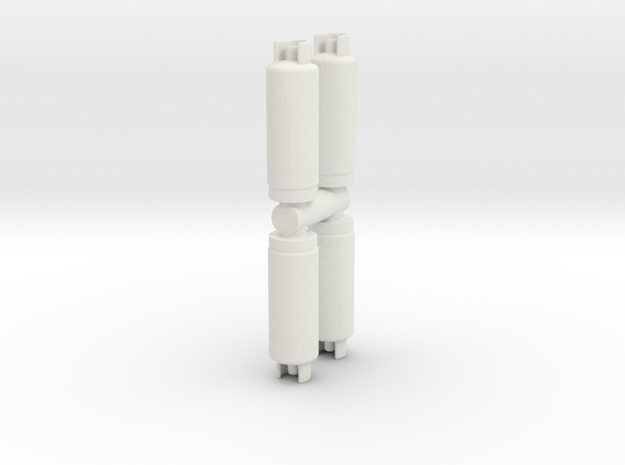 Gas Cylinder Tank (x4) 1/48 in White Natural Versatile Plastic