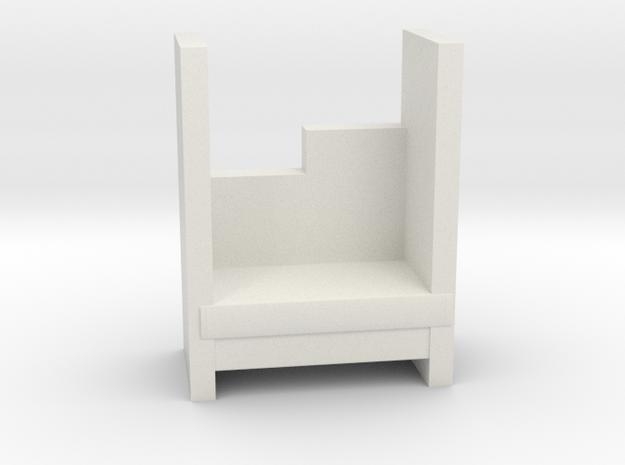 Modern Miniature 1:48 Armchair in White Natural Versatile Plastic: 1:48 - O