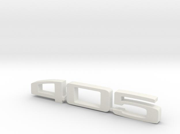 keychain peugeot 405 in White Natural Versatile Plastic