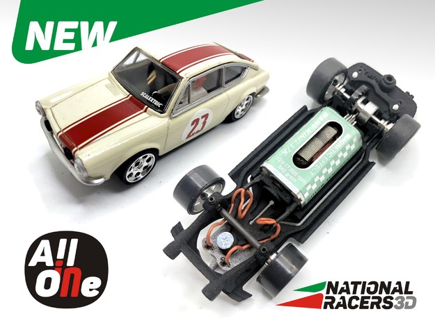 Chassis - Scalextric SEAT 850 Coupe (In-AiO)  in Black PA12