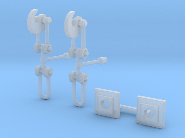 OO Scale Screw Link Couplings and Bases V4 in Smoothest Fine Detail Plastic