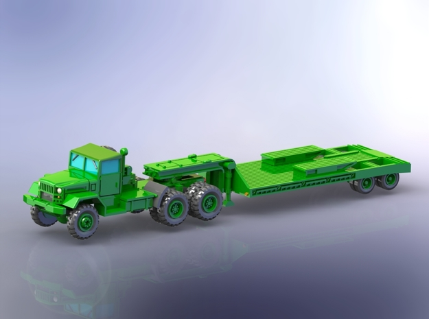 M123C Tractor w. M172 Lowbed Trailer 1/144 in Smooth Fine Detail Plastic