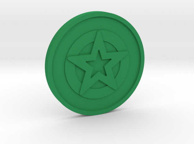 Ace of Pentacles Coin in Green Processed Versatile Plastic