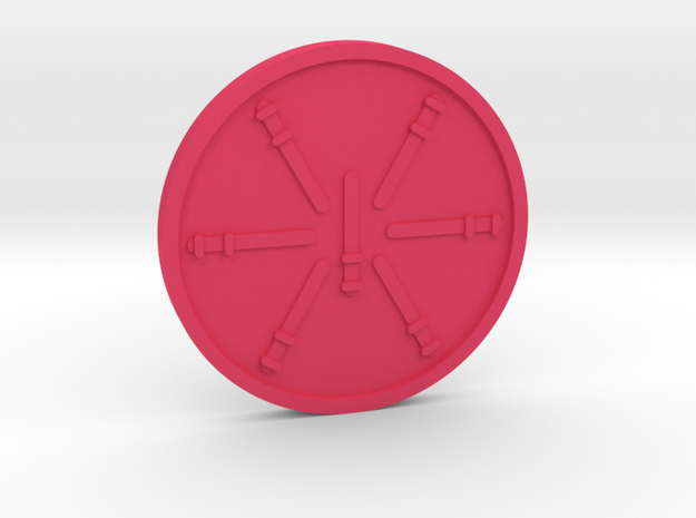 Seven of Wands Coin in Pink Processed Versatile Plastic