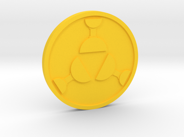 Three of Cups Coin in Yellow Processed Versatile Plastic