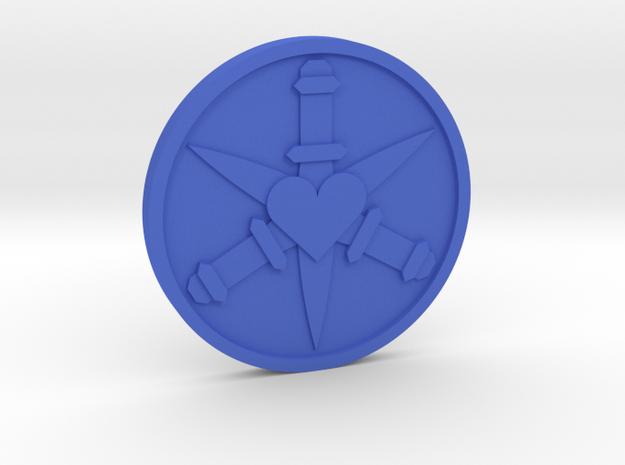Three of Swords Coin in Blue Processed Versatile Plastic