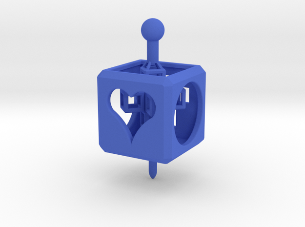 TOY Spinner/Top with Cross Inside in Blue Processed Versatile Plastic