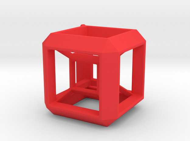 JEWELRY HyperCube Pendant (30 mm) in Red Processed Versatile Plastic