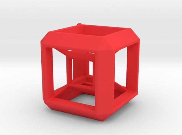 JEWELRY HyperCube Pendant (30 mm) in Red Processed Versatile Plastic