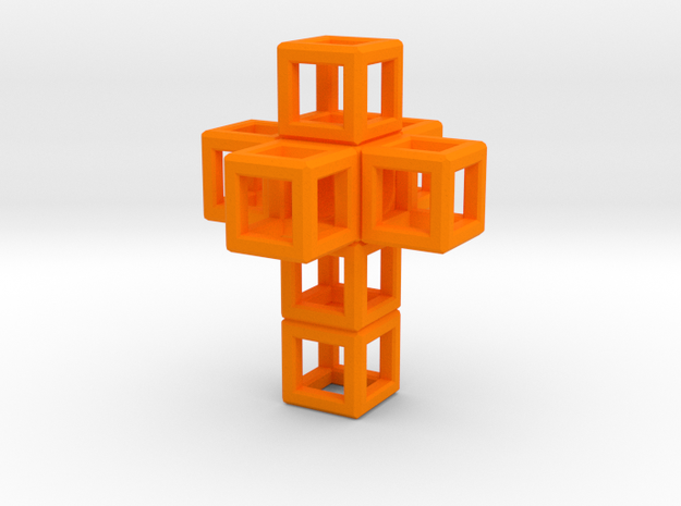 SCULPTURE Cross 40 mm Fits in HyperCube Stand  in Orange Processed Versatile Plastic