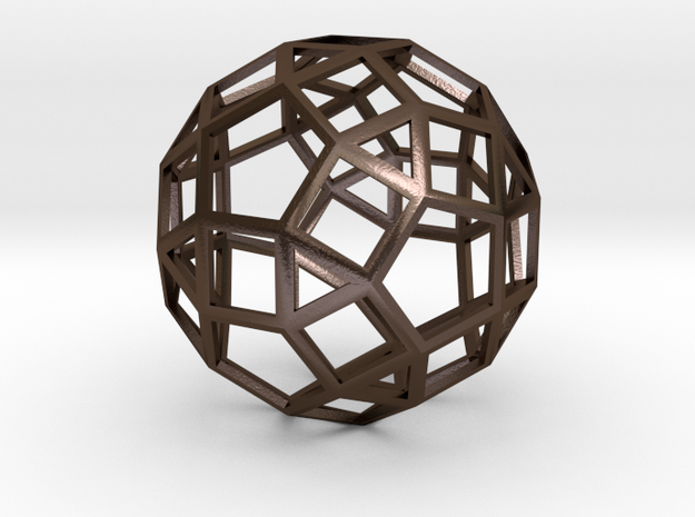 rhombicosidodecahedron wireframe in Polished Bronze Steel