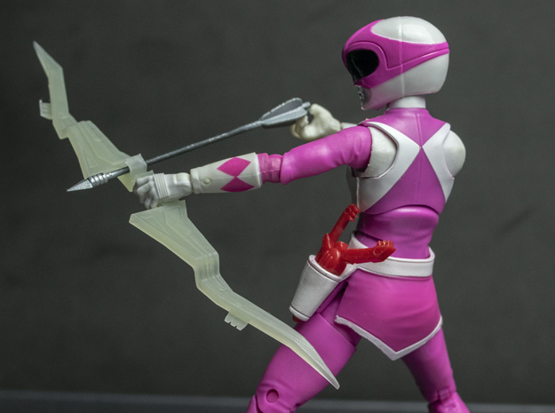MMPR Heroes Pink Accessory - Power Bow in White Natural Versatile Plastic