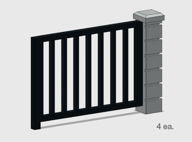 5 x 6 Rod Iron Fence Section - 4X. in Smooth Fine Detail Plastic: 1:87 - HO
