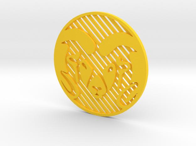 """CSU Ram (Inverted)[1.5""""] in Yellow Processed Versatile Plastic"""