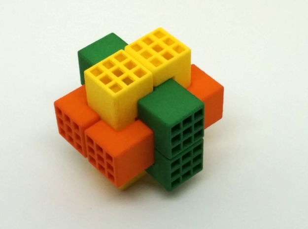 Piston Burr Puzzle 3d printed Multi-Color