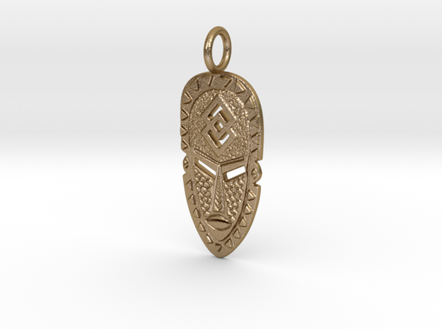 Fearless Warrior African Mask in Polished Gold Steel
