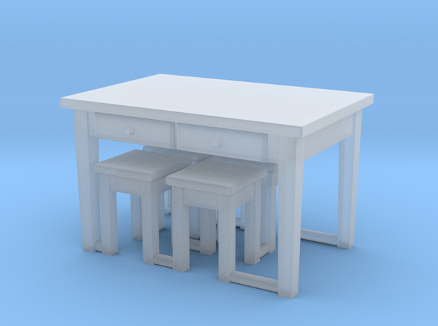1:144- Kitchen Table & 4 Stools (20% thicker legs) in Smooth Fine Detail Plastic
