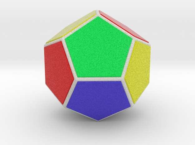 Dodecahedron (Faces & full color, 5 cm) in Natural Full Color Sandstone