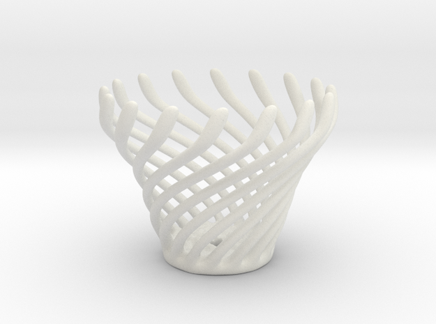 Swirly Fun Egg Cup in White Natural Versatile Plastic