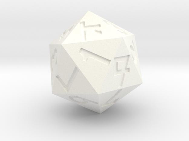Vigesimal d20 in White Processed Versatile Plastic