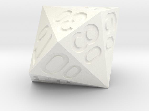 d16 Hex Argam Percentile Dice in White Processed Versatile Plastic