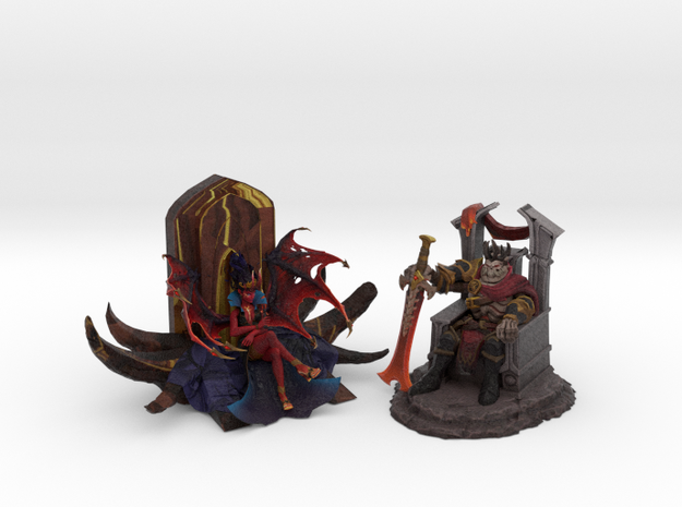 Skeleton King and Queen of Pain (Throne Edition) in Natural Full Color Sandstone