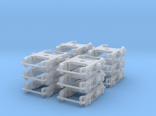 Bulk Pack N-Scale (1/160) PRR Truck 2D-P5 Roller B in Smooth Fine Detail Plastic