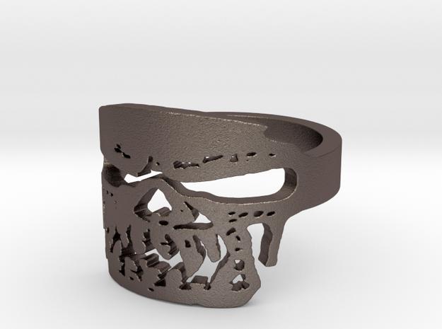 Fallen Angel Biker Skull v2 Ring Size 12 in Polished Bronzed Silver Steel
