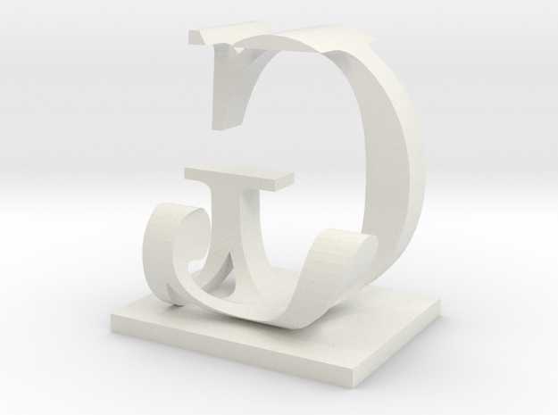 Two way letter / initial J&G size XL in White Natural Versatile Plastic
