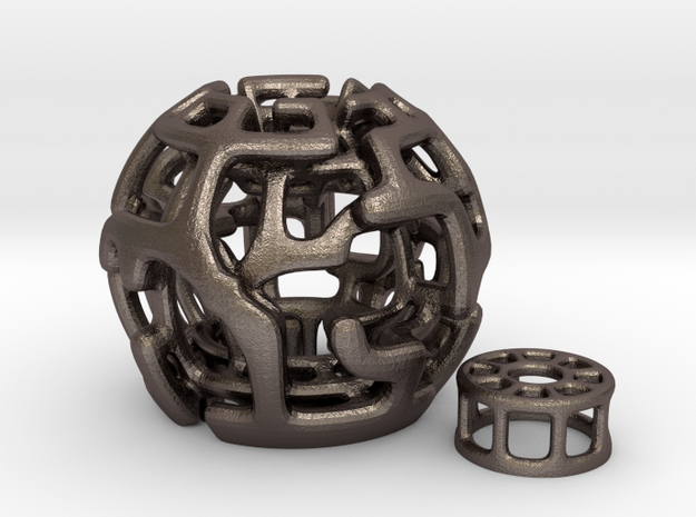 Magic Sphere Tealight Holder in Polished Bronzed Silver Steel