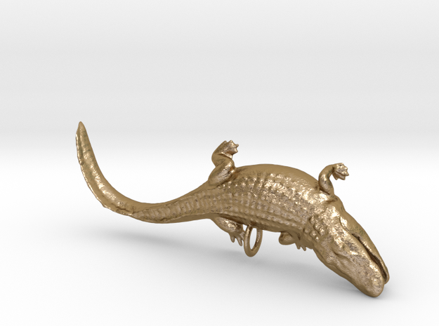 gator-pendant-hollow2-35mm in Polished Gold Steel