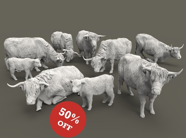 Highland Cattle Set 1:87 nine different pieces in Smooth Fine Detail Plastic