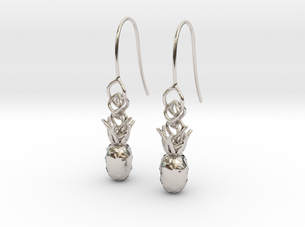 Pineapple earring in Rhodium Plated Brass