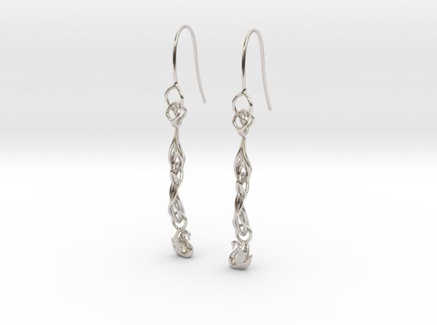 Long  Swan filigree earring in Rhodium Plated Brass