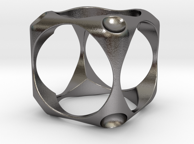 Cube Ring 1 in Polished Nickel Steel