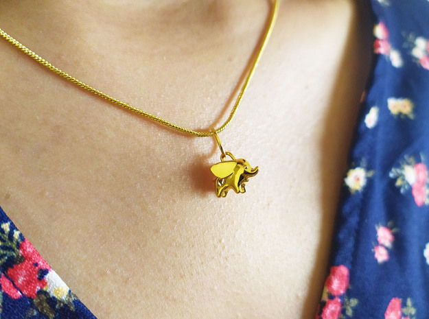 Happy Elephant Pendant in 14k Gold Plated Brass