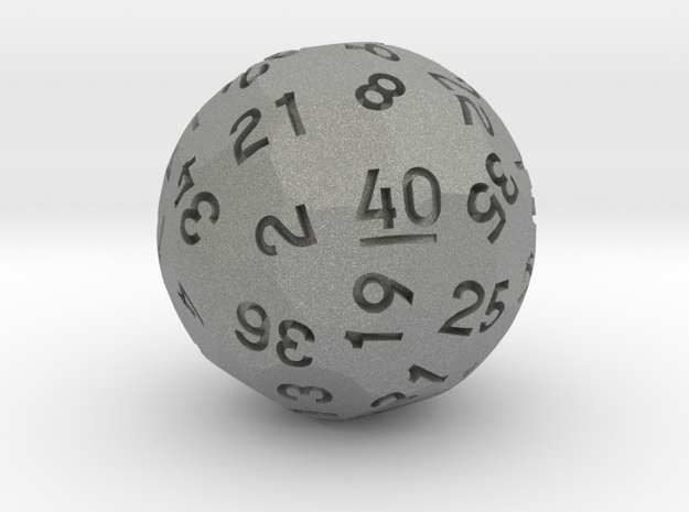 d40 Sphere Dice in Gray PA12