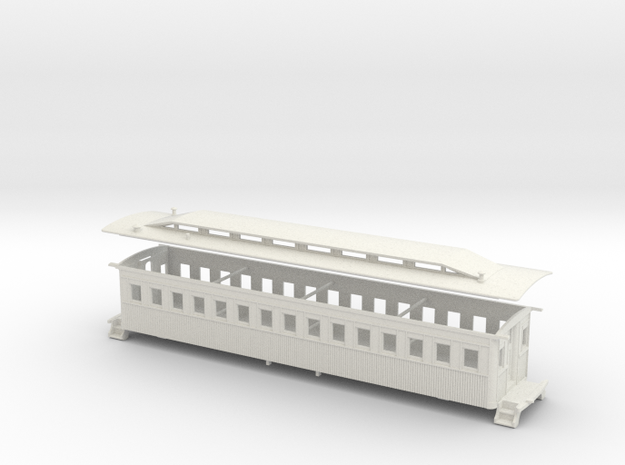 HO LIRR Harlan Clerestory Coach in White Natural Versatile Plastic
